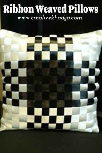 how to make ribbon work cushions-pillows