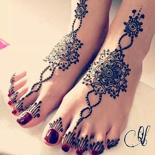 dot style feet henna design