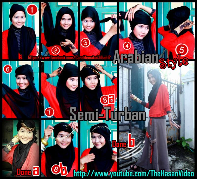 semi turban hijab style