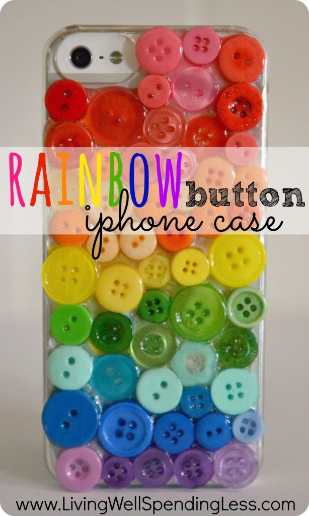 DIY rainbow button phone case