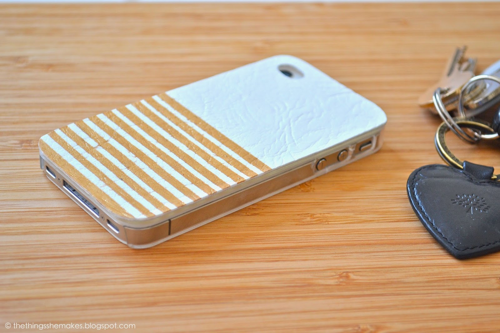 DIY white and gold phone case