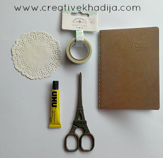 How to design a pocket size diary with paper doily & washi tape quick tutorial by Creative Khadija
