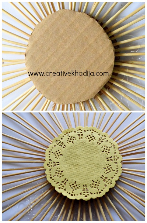 How To Make Sunburst Wall Art with barbq sticks for Fall Home Decoration