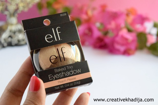 Elf Peach Please Baked Eye Shadow Trio Review & Swatches By Creative Khadija