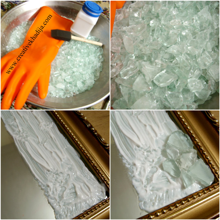 how to break glass pieces for mosaic