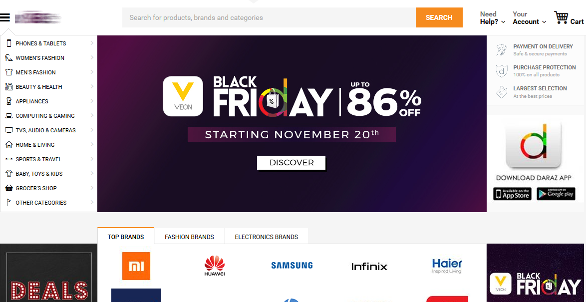 Websites Offering Black Friday Deals in Pakistan