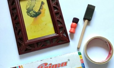 how to make wooden frame with color block neon paints