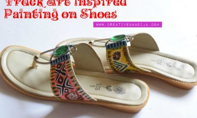 Pakistani truck art inspired painting on shoes by Creative Khadija