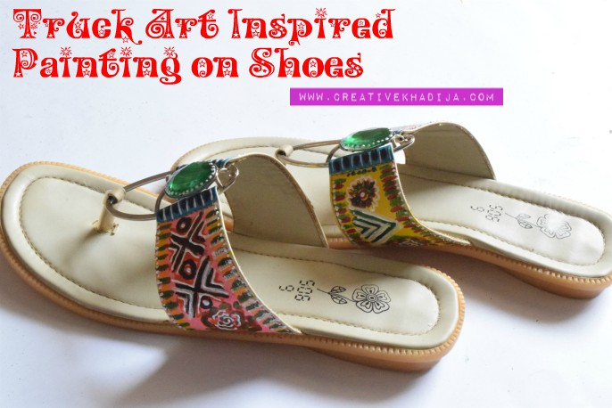 Pakistani truck art inspired painting on shoes by Creative Khadija