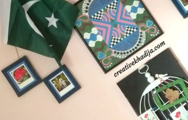 Pakistani green flag painting by kids for jashan-e-azadi