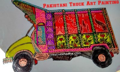 Pakistani truck art design glass painting tutorials