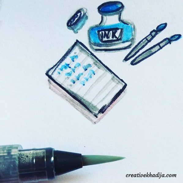 instagram inktober 2018 challenge pen and ink drawings by Creative Khadija