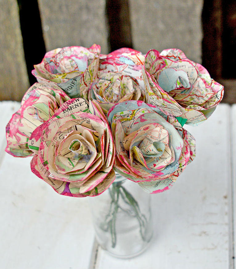 paper crafts for home decoration map roses
