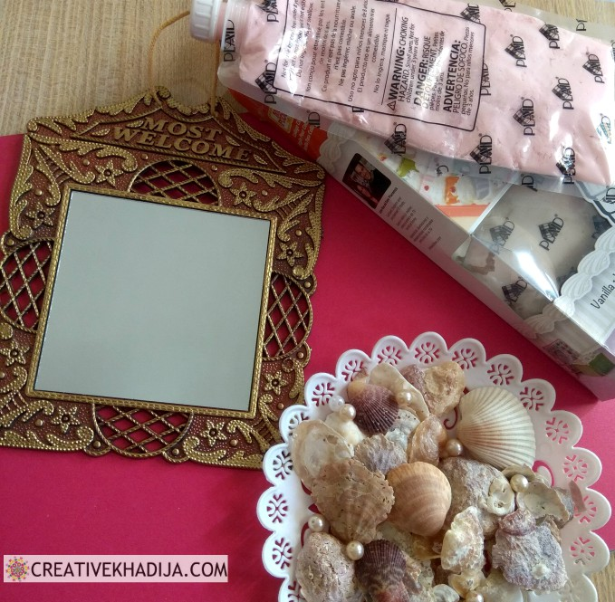 Easy Art Project Ideas for decorating mirror with seashells