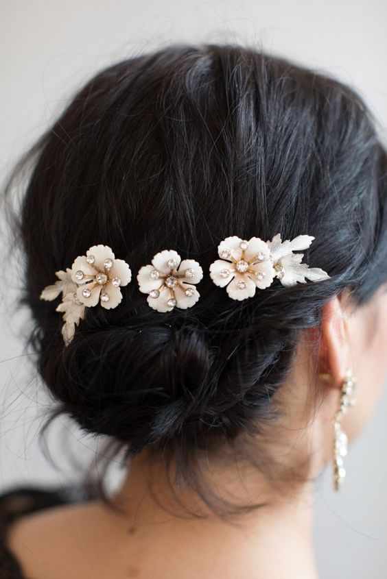 beautiful hairstyles with floral hair pins 12