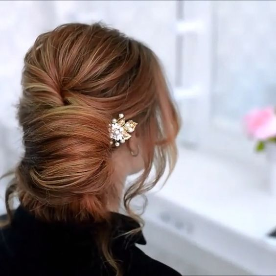 beautiful hairstyles with floral hair pins 3
