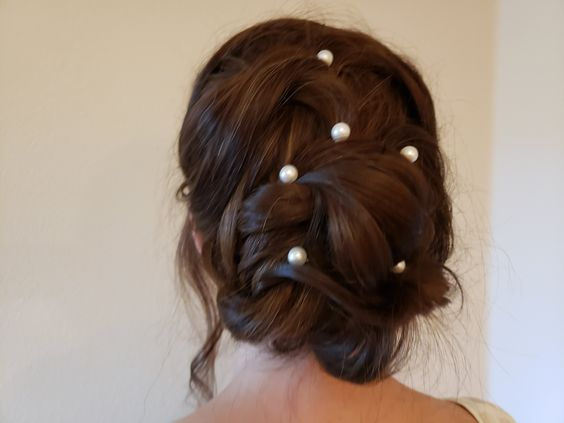 pearl hair pins with updo hairstyles 11