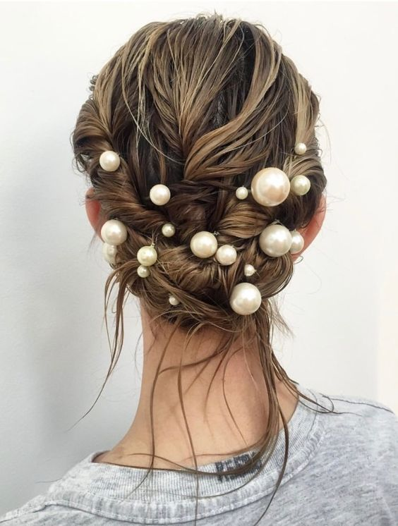 pearl hair pins with updo hairstyles 13