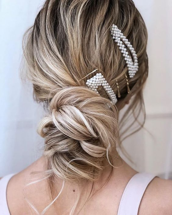 pearl hair pins with updo hairstyles 17