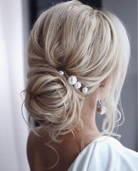 pearl hair pins with updo hairstyles 2