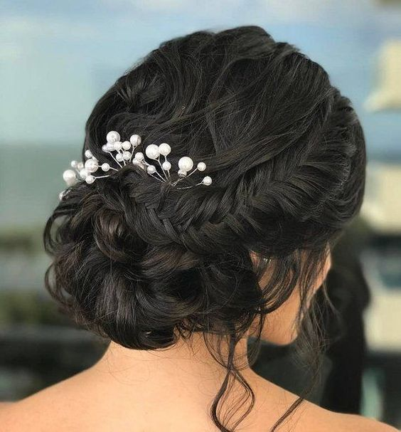 pearl hair pins with updo hairstyles 20