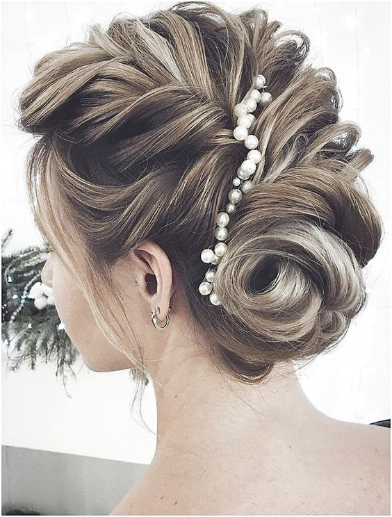 pearl hair pins with updo hairstyles 3