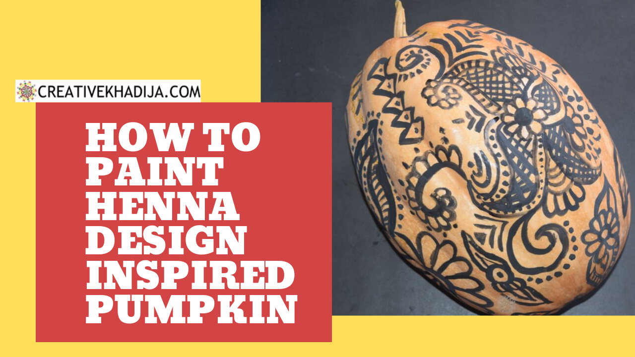 henna painting on pumpkin art for fall decor