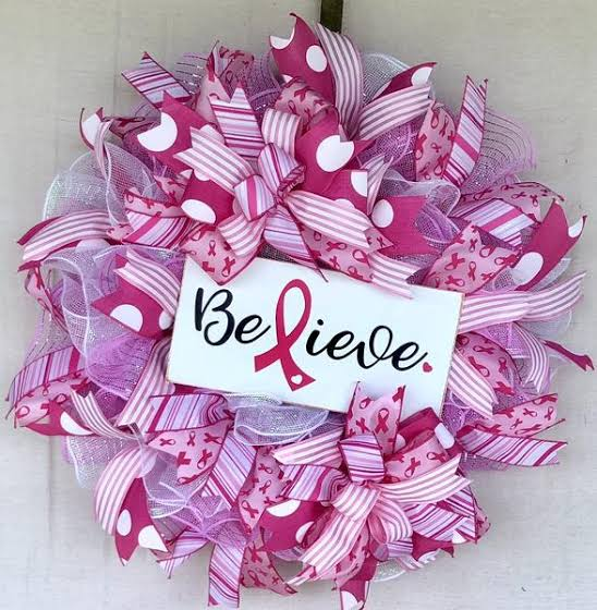 easy crafts for breast cancer awareness month pink ribbon wreath