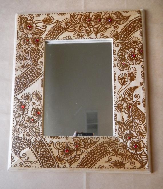 creative ideas using henna patterns in crafts mirror