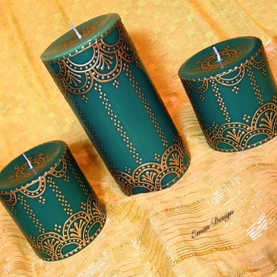 creative ideas using henna patterns in crafts candles