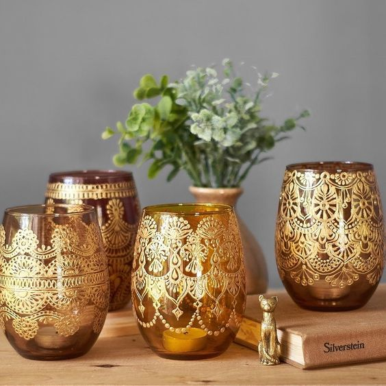 creative ideas using henna patterns in crafts wine glasses