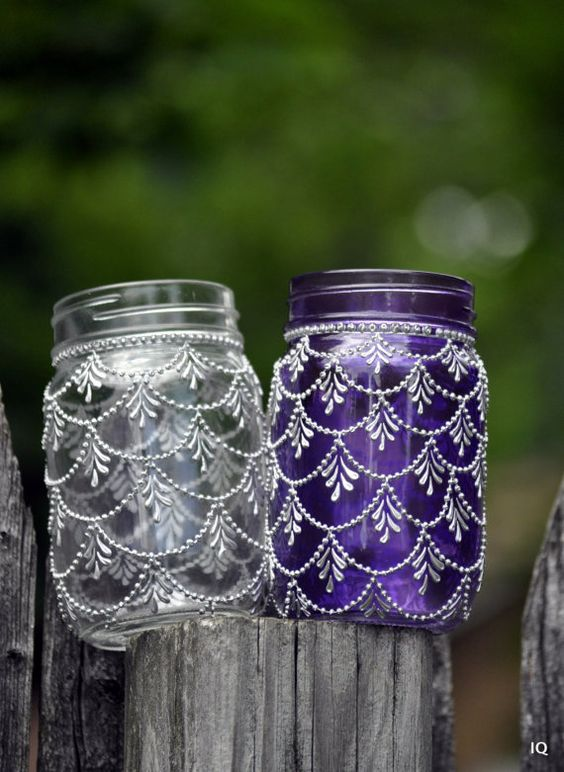 creative ideas using henna patterns in crafts mason jars