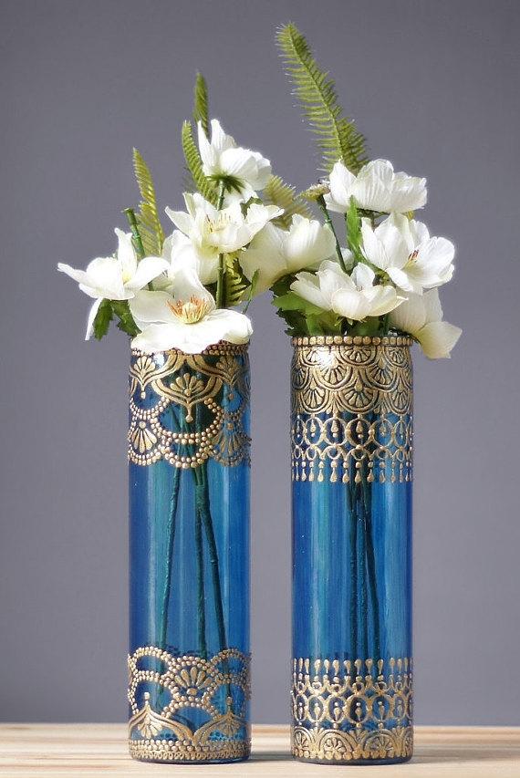 creative ideas using henna patterns in crafts flower vase
