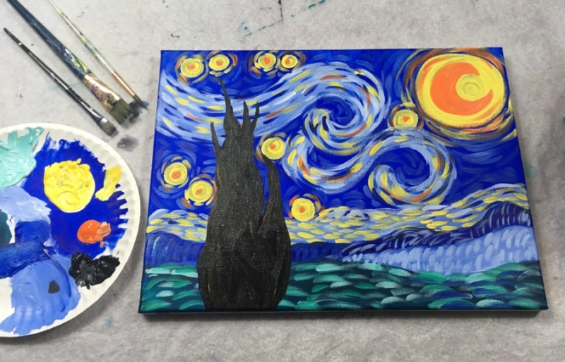 easy canvas painting ideas for beginners starry night