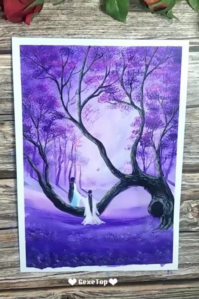 easy canvas painting ideas for beginners violet forest