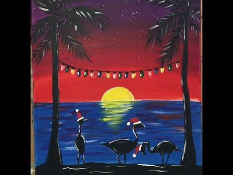 easy canvas painting ideas for beginners flamingo sunset