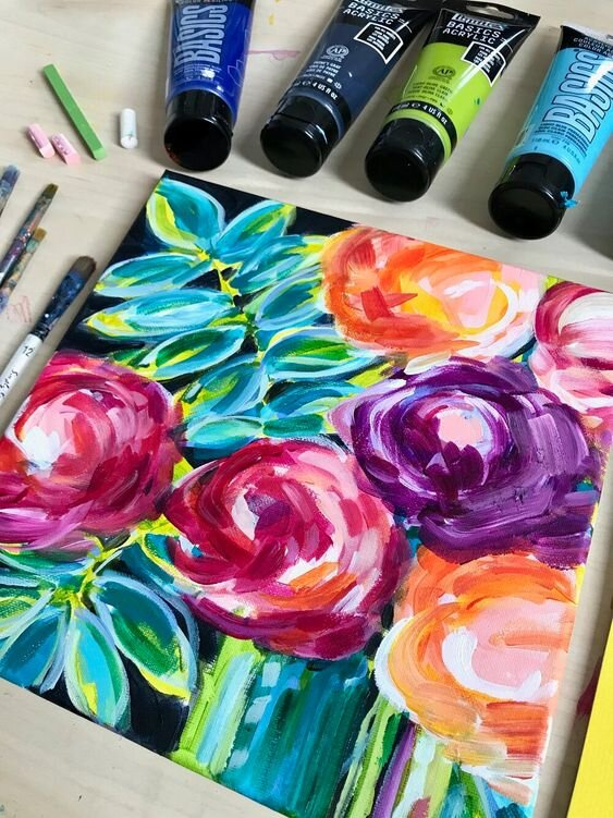 easy canvas painting ideas for beginners abstract flower art