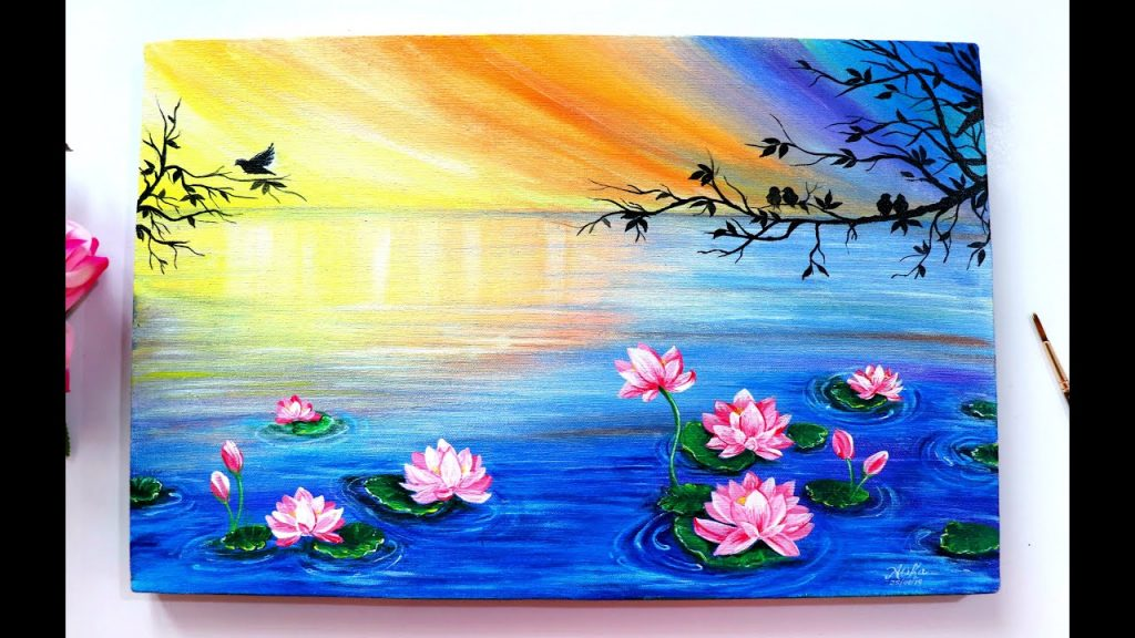 easy canvas painting ideas for beginners floating lotus
