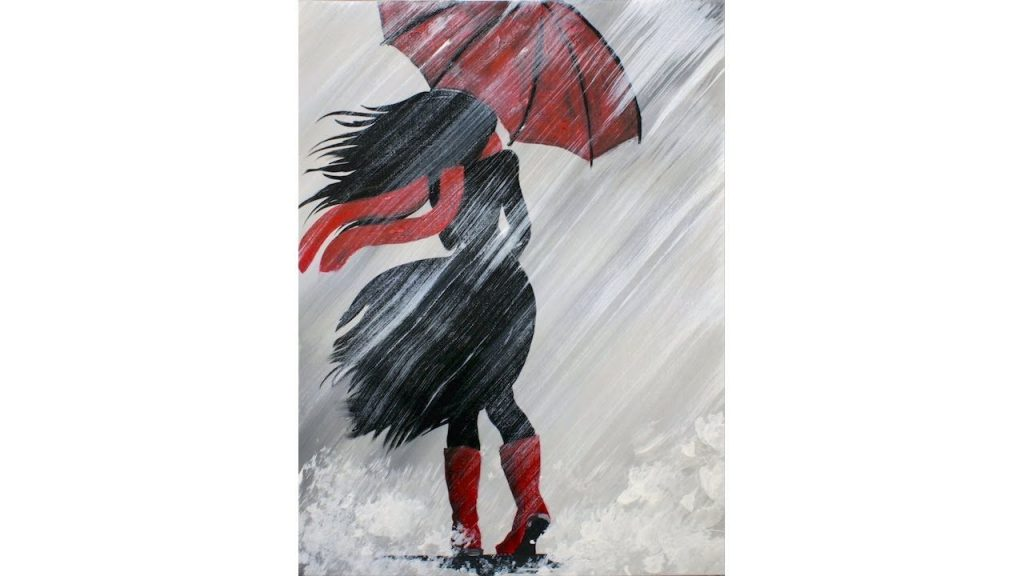 easy canvas painting ideas for beginners girl in rain