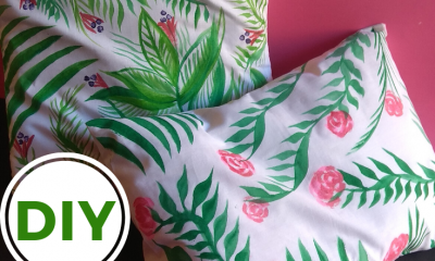 forest green color painting on pillow covers by creative khadija