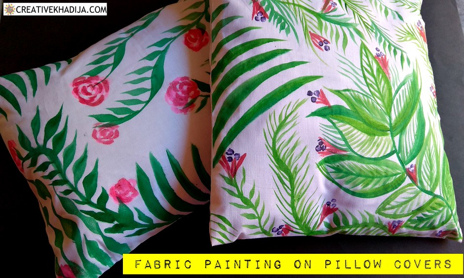 hand painted fabric pillow covers