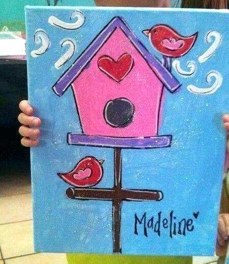 easy canvas painting ideas for beginners birdhouse