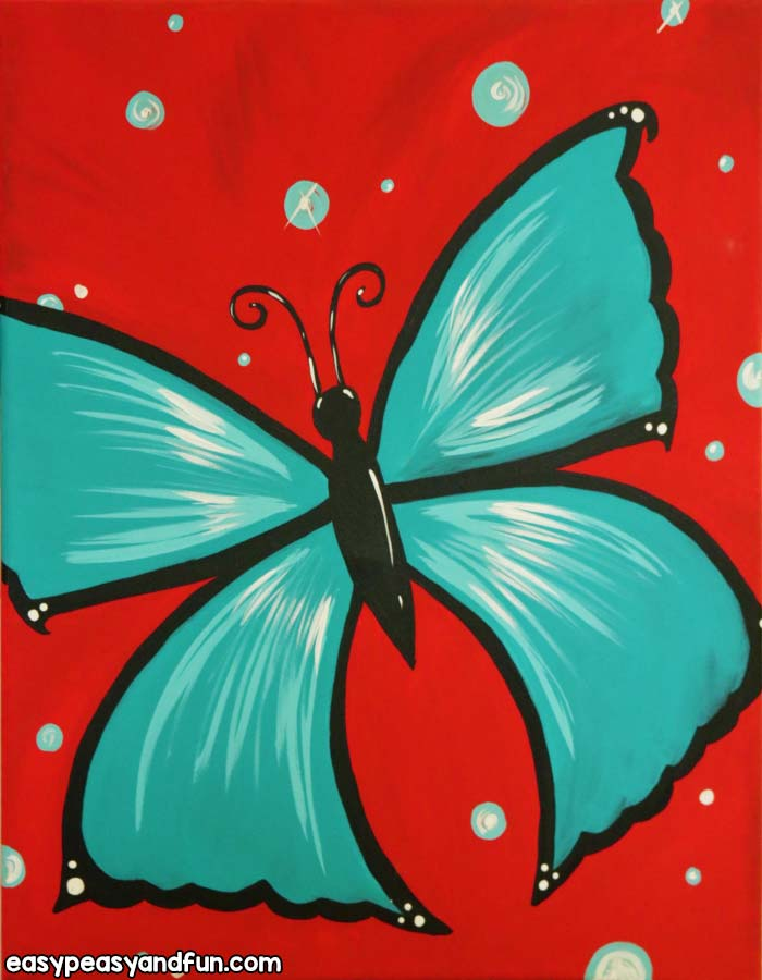 easy canvas painting ideas for beginners butterfly