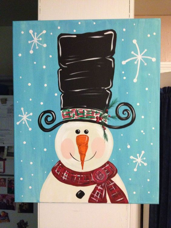 how to make snowman painting