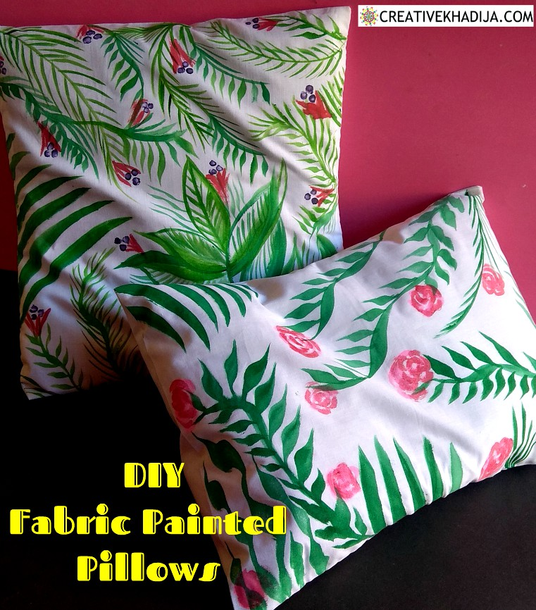 Forest Green Color Hand-painted DIY Pillow