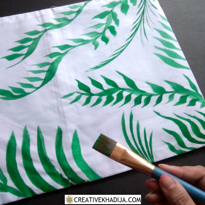 green and white pillow covers painting DIY
