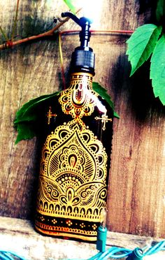 creative ideas using henna patterns in crafts soap dispenser