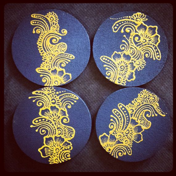 creative ideas using henna patterns in crafts coasters