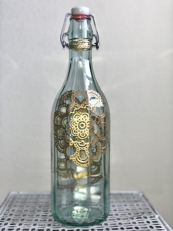 creative ideas using henna patterns in crafts bottle
