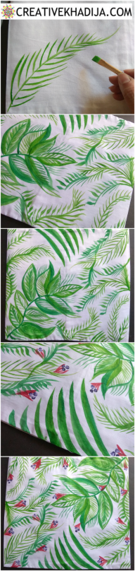 how to paint green leaf and branches on fabric
